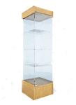 Пенал стеклянный, с дверками, крыша-ДСП (подиум - 300 мм), дверка 448*434*1950